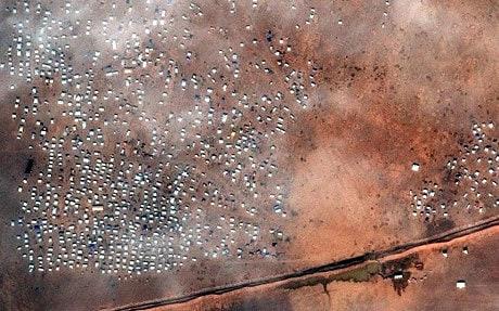 A satellite image of a Syrian asylum seeker encampment in Rukban, Jordan, taken on December 5