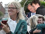 """Proud mum tv and radio presenter Zoe Ball gives a thumbs up to son Woody Cook, son of DJ and musician Norman Cook, whilst he poses in a group school photo when he collected his GCSE results at the Brighton College, independent school in Brighton, UK, Thursday August 24, 2017.  BBC reported """"More than half a million GCSE students are receiving their results, amid changes meaning a new numerical grading system"""". Photograph : © Luke MacGregor +44 (0) 79 79 74 50 30  luke@lukemacgregor.com"""