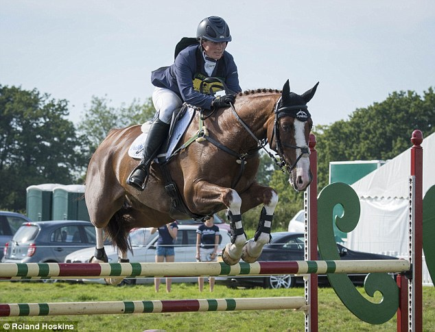 Skilled equestrian Zara Tindall takes a jump during theWellington Horse trials