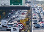 Picture shows the heavy traffic on the A14 near Cambridge as motorists returned home after one of the hottest Bank Holidays on record