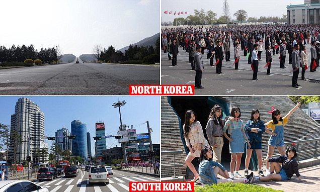 Photos show how life in North and South Korea compare