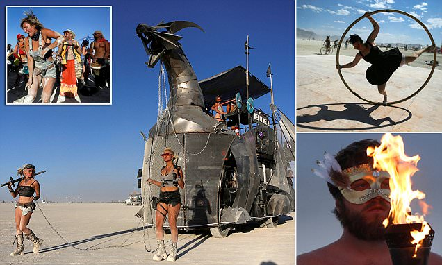 Stunning bird's-eye view of Burning Man shows desert city