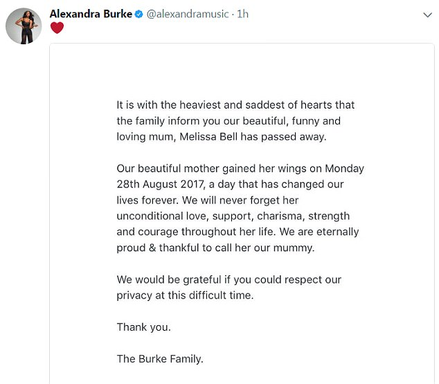 A statement from the Burke family said Bell died on August 28 and paid tribute to her 'unconditional love, support, charisma, strength and courage'