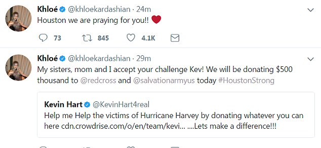 From Koko: Khloe also took to Twitter: 'My sisters, mom and I accept your challenge Kev!'