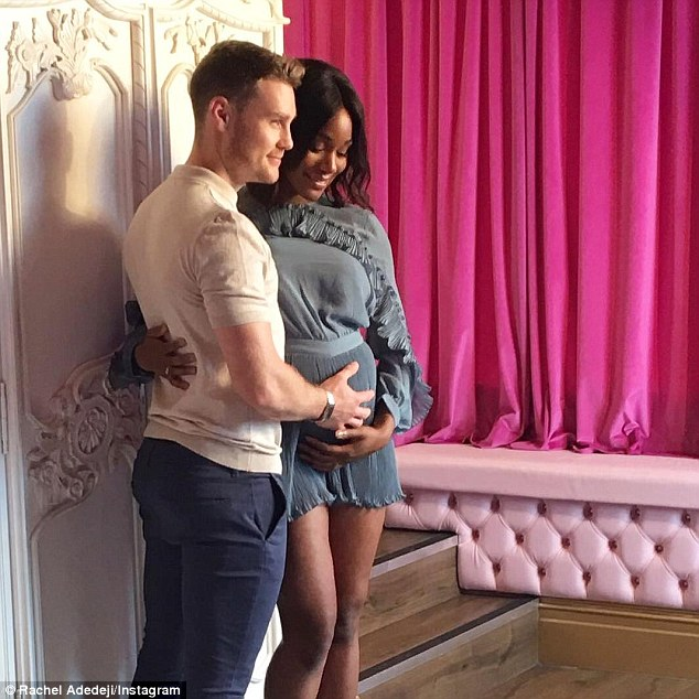 Sweet: She shared this snap from the shoot, writing: 'Delighted to say that Jason and I are expecting our first child! Baby Adedeji will be due 27th December'
