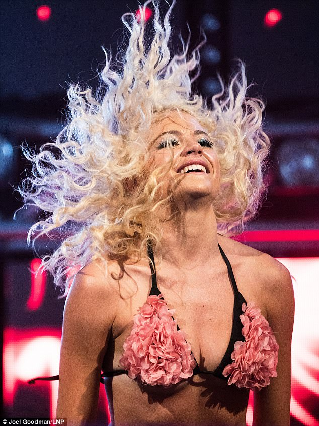 A Lott of lingerie:Pixie took to the stage in just her bra to put on a hair-raising performance for the opening night of Manchester's Pride on Friday