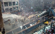 A picture posted on Twitter of the scene in Kolkata where a bridge has collapsed