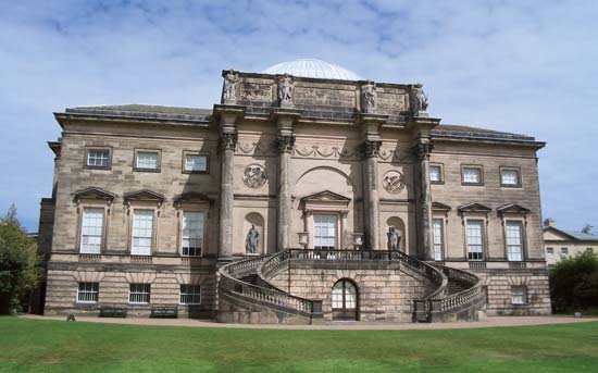 Kedleston Hall, Derbyshire, Eng.; designed by James Paine and Robert Adam.