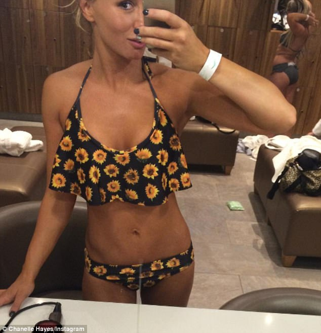 Slender: Pregnant Chanelle Hayes illustrated her determination on Tuesday as she shared an image of her incredibly slim bikini body while insisting she would get back into shape after giving birth to her first child with Ryan Oates