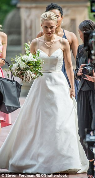 Blushing bride: The 37-year-old star - who is married to actor Dax Shepard - got to relive her wedding day