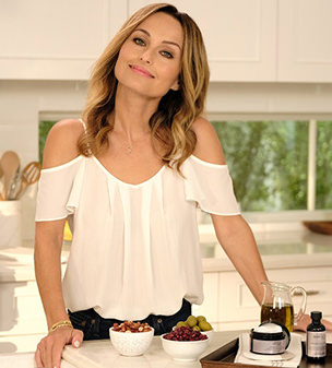 Perfection: Giada De Laurentiis has partnered with philosophy to promote their new skincare product Ultimate Miracle Worker retinol pads, which mix high-potency retinol with  super food oils to nourish the skin.