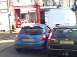Footage has emerged of a two-minute three car battle in Halifax, West Yorkshire