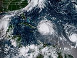 Tropical storm Katia strengthened into a hurricane off the Mexican coast on Wednesday - marking the first time since 2010 there has been a trio of hurricanes around the Atlantic region at the same time