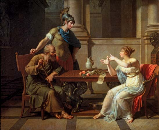 Alcibiades (standing) with Socrates (seated left) and Aspasia, depicted in the painting Socrates and Alcibiades at Aspasia by Nicolas-André Monsiau, 1801; in the Pushkin Fine Arts Museum, Moscow.