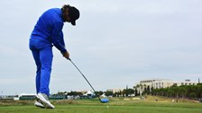 Tommy Fleetwood - plays a shot during the second round of The Portugal Masters at  Victoria Clube de Golfe