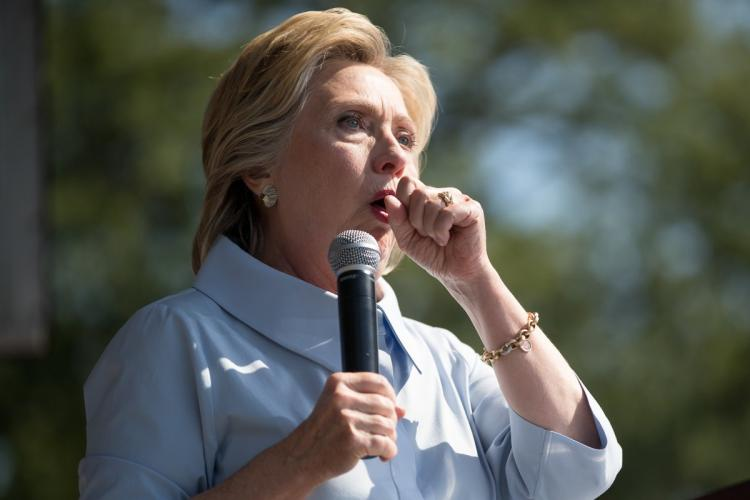 Clinton stopped her  speech to cough at the 11th Congressional District Labor Day festival at  in Ohio on Sept. 5.