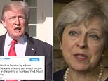 Theresa May (pictured in No 10 this afternoon) said any speculation was unhelpful when asked about the President's tweets on the Parsons Green attack