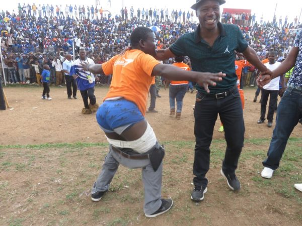 A overexcited  Wanderers fan strips half naked after the match, Pic Alex Mwazalumo