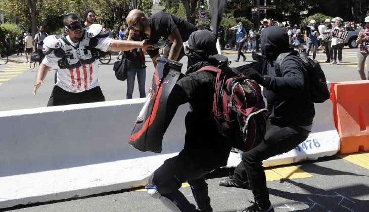 The far Left was beating their peaceful opponents down in the streets. (AP Photo/Marcio Jose Sanchez)