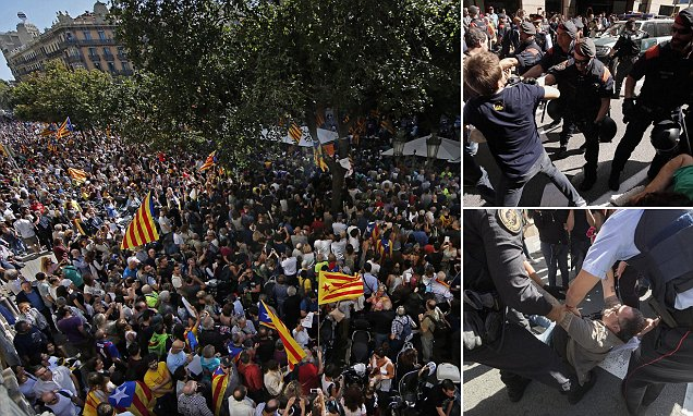 Protests as Spain clamps down on Catalan independence poll