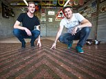 Amateur brewer Dominic Lowe, 55, and son Jon, 25, are creating the stunning copper mosaic, covering 5m X 5m at Dominic's home in Pensford, Somerset