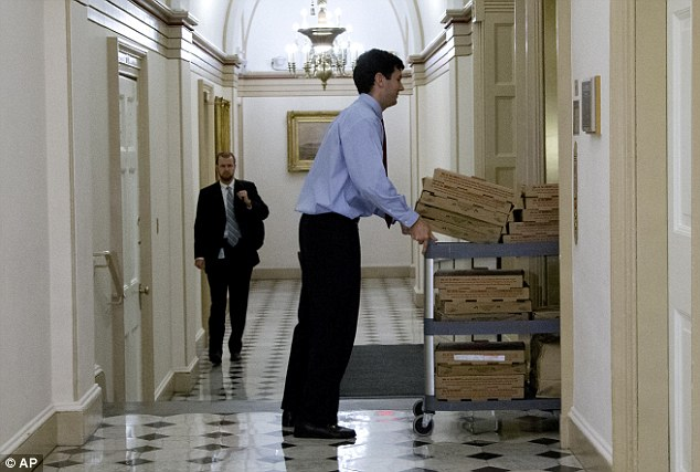 Congressional staffers tapped Pizza Boli's, a popular D.C. delivery choice, for carts full of sustenance as tense talks went through dinnertime before the GOP effort stalled