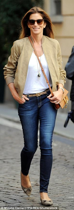 Fashionista: Continuing her stylish display, she tucked a simple white tee into her jeans which she accessorised with a printed skinny belt