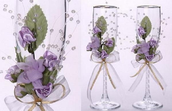 7858 - Украшаем бокалы на свадьбу своими руками