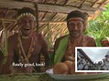 Tribesmen laugh as they watch a clip of traditional English Morris dancers