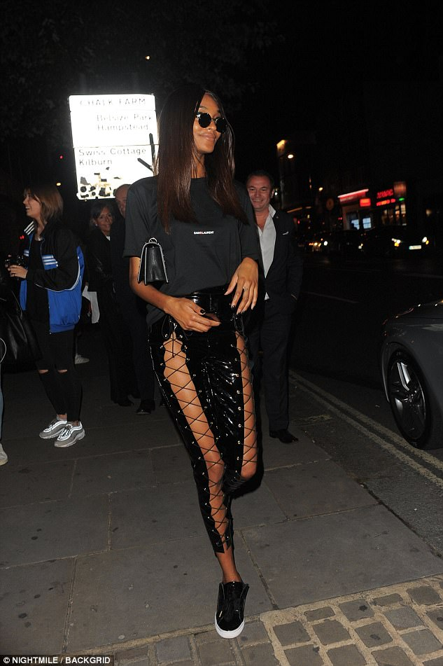 Model moment:Fresh from the runway, the 27-year-old model looked sensational as she headed out after yet another successful gig during London Fashion Week