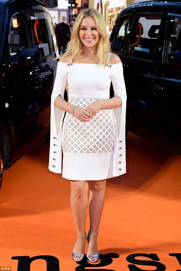 Star-studded:Kylie led the glamour at the premiere which saw stars Colin Firth, Julianne Moore, Taron Egerton, Halle Berry, Mark Strong, Channing Tatum and Jeff Bridges all make dazzling appearances