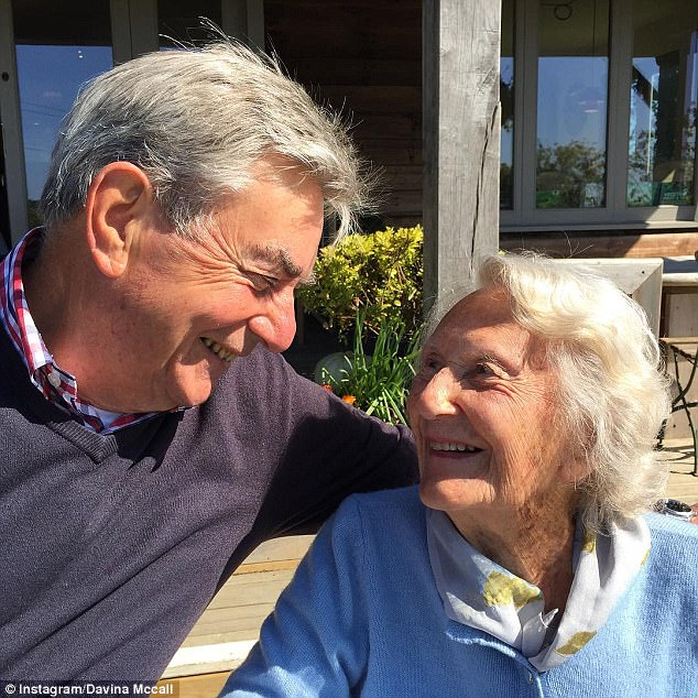 Davina's father Andrew was diagnosed with Alzheimer's last year at the age of 73, while her grandmother Pippy also battles dementia (both above)