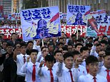 Tens of thousands of Pyongyang residents gathered in the capital's Kim Il-sung Square on Saturday to laud leader Kim Jong-un's denunciation of US President Donald Trump