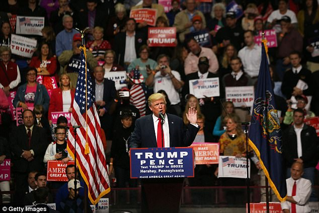 Donald Trump speaks at a rally on November 4, 2016 in Hershey, Pennsylvania