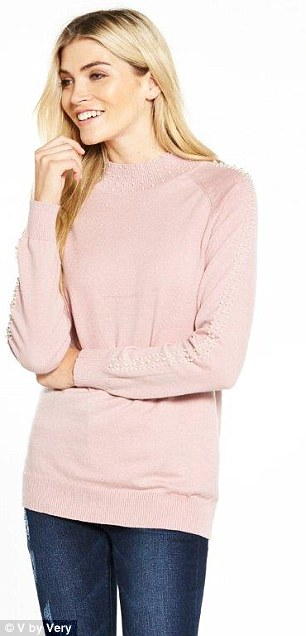 Steal Holly Willoughby's style with V by Very's pink sweater with pearl embellishment