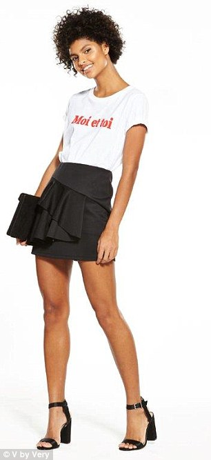 Get her look with V by Very's A-line mini, £25, complete with asymmetric frill