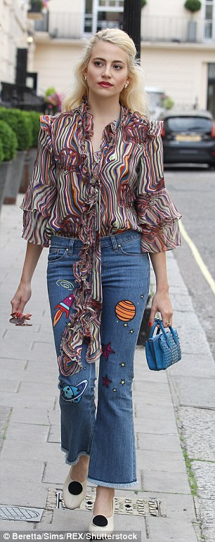 Pixie Lott steps out in a pair of embroidered jeans