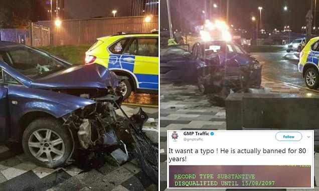 Salford police claim crash driver banned for 80 years