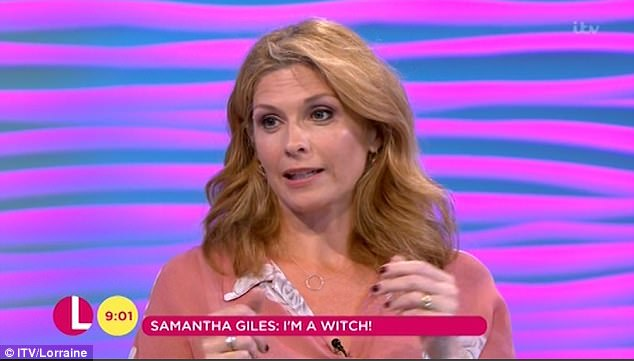 'I cast a love spell': Samantha Giles, 46, took to ITV's Lorraine on Friday morning to admit she found her husband Sean Pritchard by practising her Wiccan faith