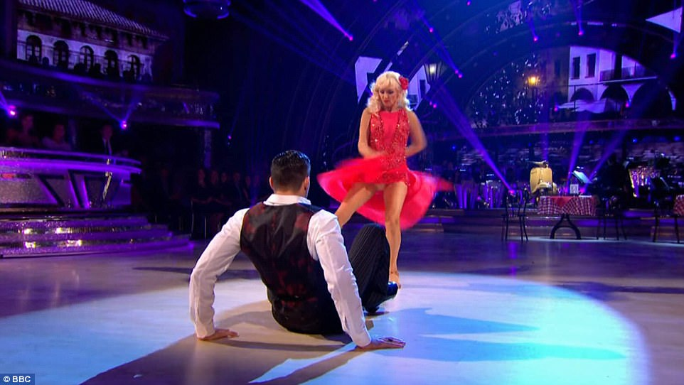Avert your eyes! McGee revealed a little too much as she danced enthusiastically during the steamy routine