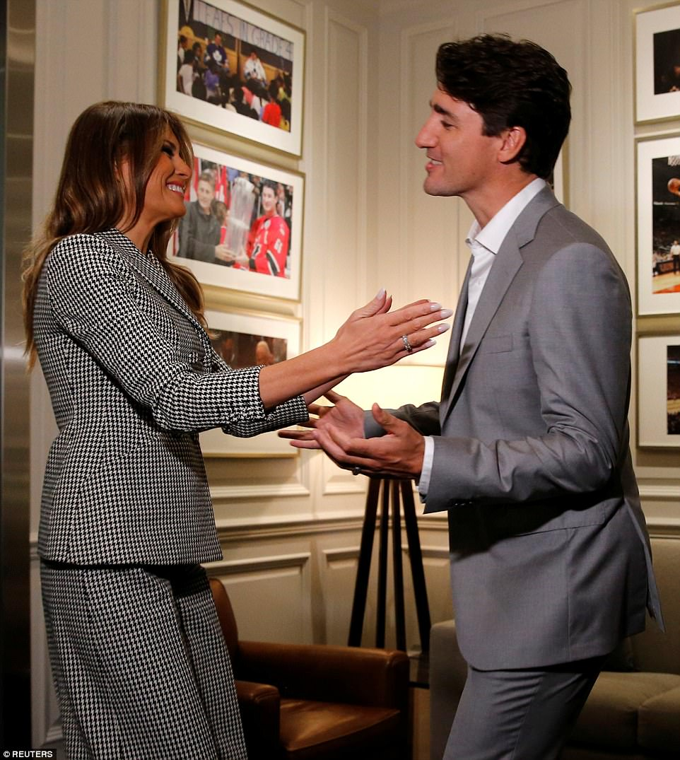 Melania later enjoyed a more animated embrace with Canadian Prime Minister Justin Trudeau