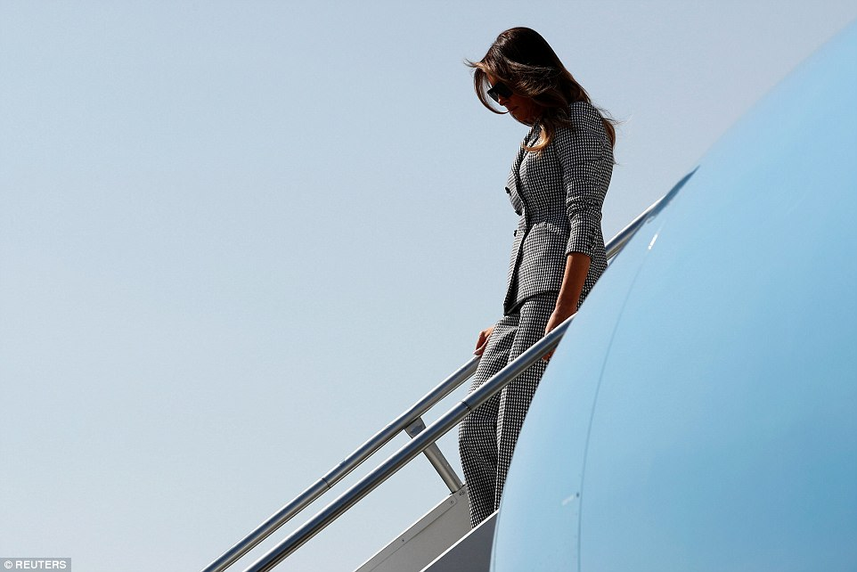 Leading: Melania (pictured, arriving in Toronto) touched down at Toronto Pearson International Airport on Saturday morning