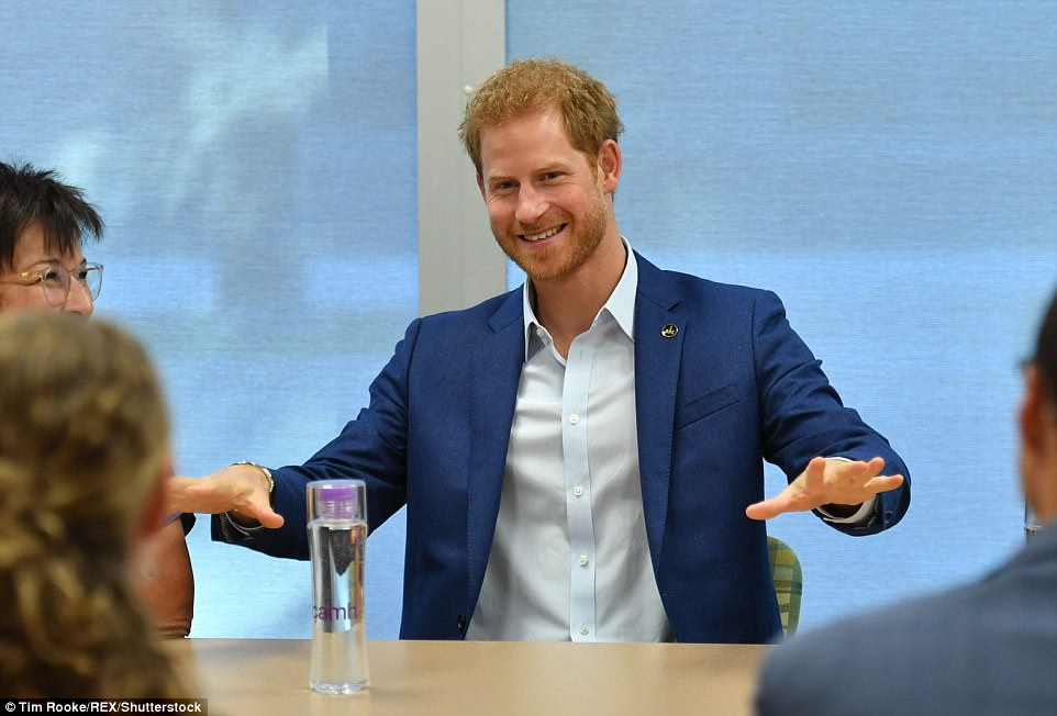At work: The royal had just come from meeting with healthcare workers at Canada's largest mental health and addiction hospital to discuss their work in research and technology with a focus on young people (pictured)