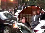 The Obamas have been spotted leaving a Greenwich Village private residence to huge cheers from a waiting crowd