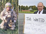 Wayne Taylor (pictured) resorted to drastic measures after failing to get 400 jobs he applied for. The 46-year-old stood outside the entrance to Chester Business Park with a sign reading 'Job wanted. Educated to degree level. Speak to me please' in a bid to get an offer