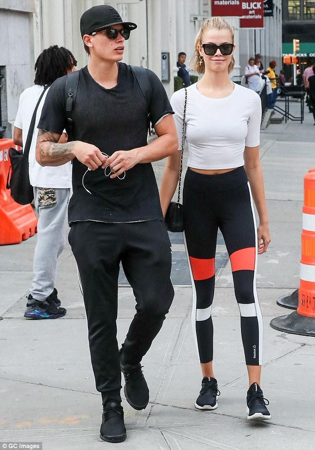 Keeping fit: Hailey and longtime boyfriend Jullien Herrera were snapped a week ago in athletic gear while out and about in New York