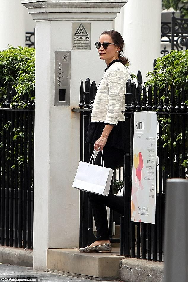 Pippa was seen leaving the London clinic laden with products just five weeks before her wedding