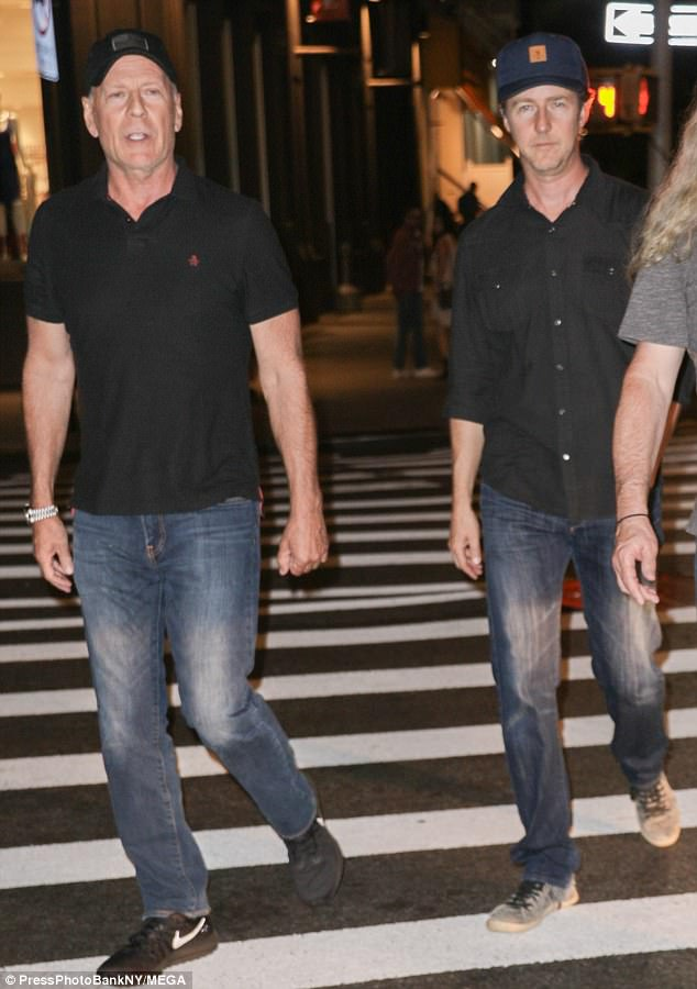 Boy's club! Bruce Willis came to party with actor Edward Norton