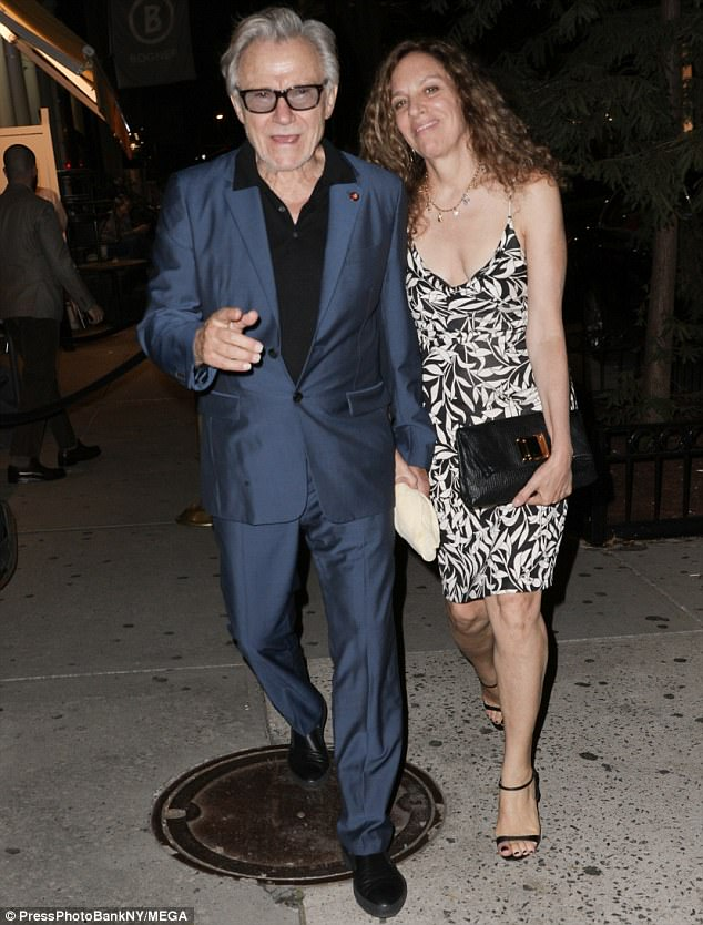 Harvey's everywhere! Actor Harvey Keitel looked sharp in a blue suit while joined by his wife of 16 years Daphna Kastner
