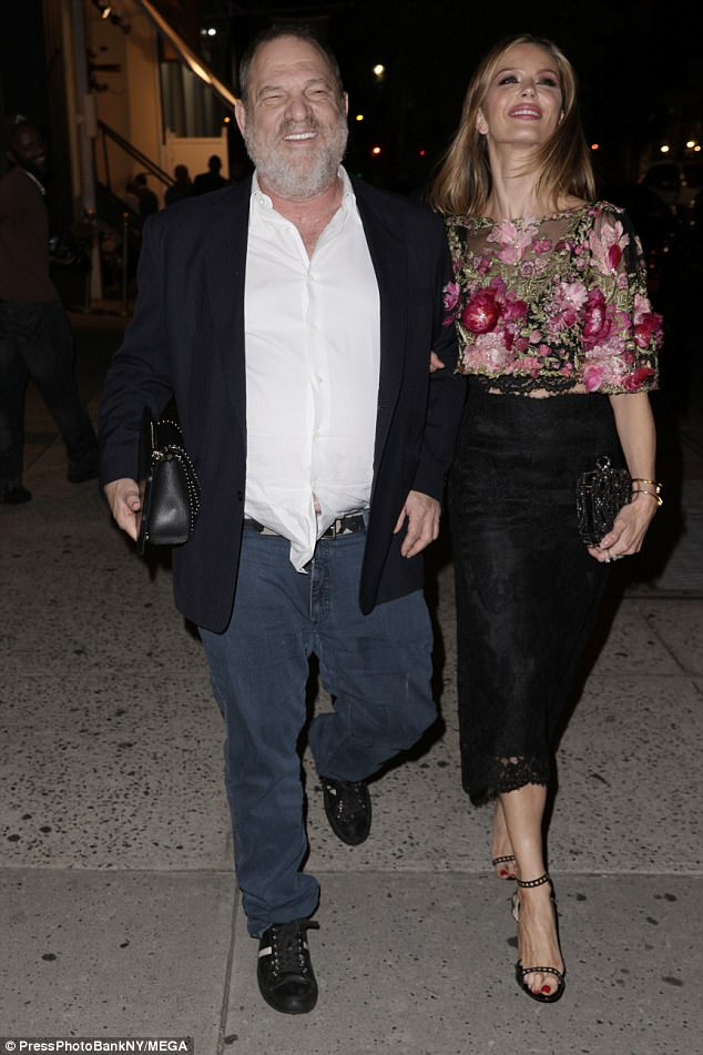 Happy host: Host and Miramax co-founder Harvey Weinstein was all smiles as he headed to dinner with fashion designer wife Georgina Chapman